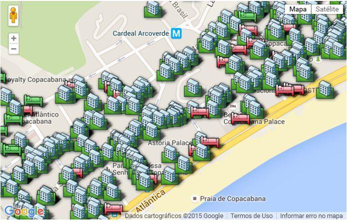 Clique no mapa para detalhes das acomodações ou reservar online