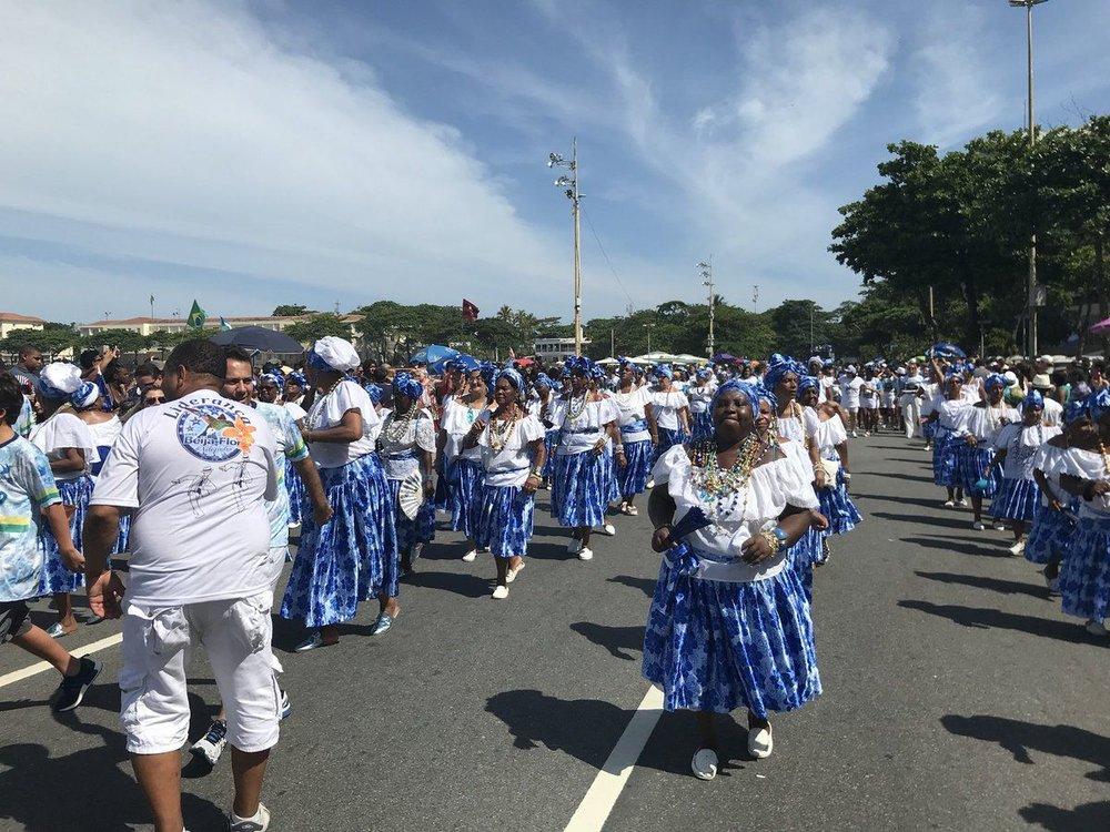 Ensaio técnico da Escola de samba Beija Flor na Praia de Copacabana