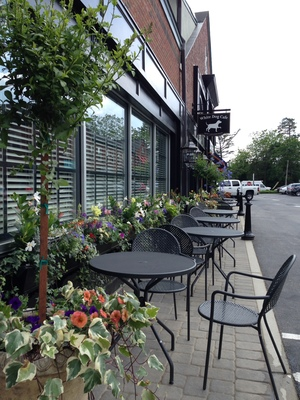 Window Boxes at White Dog Cafe in Haverford, PA with Inspired Gardens.