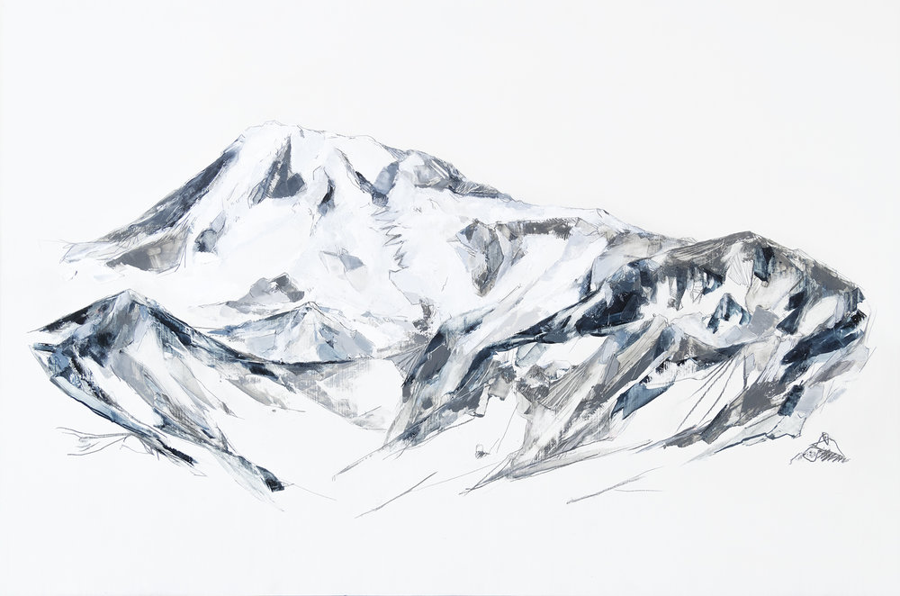 Collision of Elements (Mt Rainier)  Mya Kerner, Oil and Graphite on Panel, 24 x 36 inches, 2017.