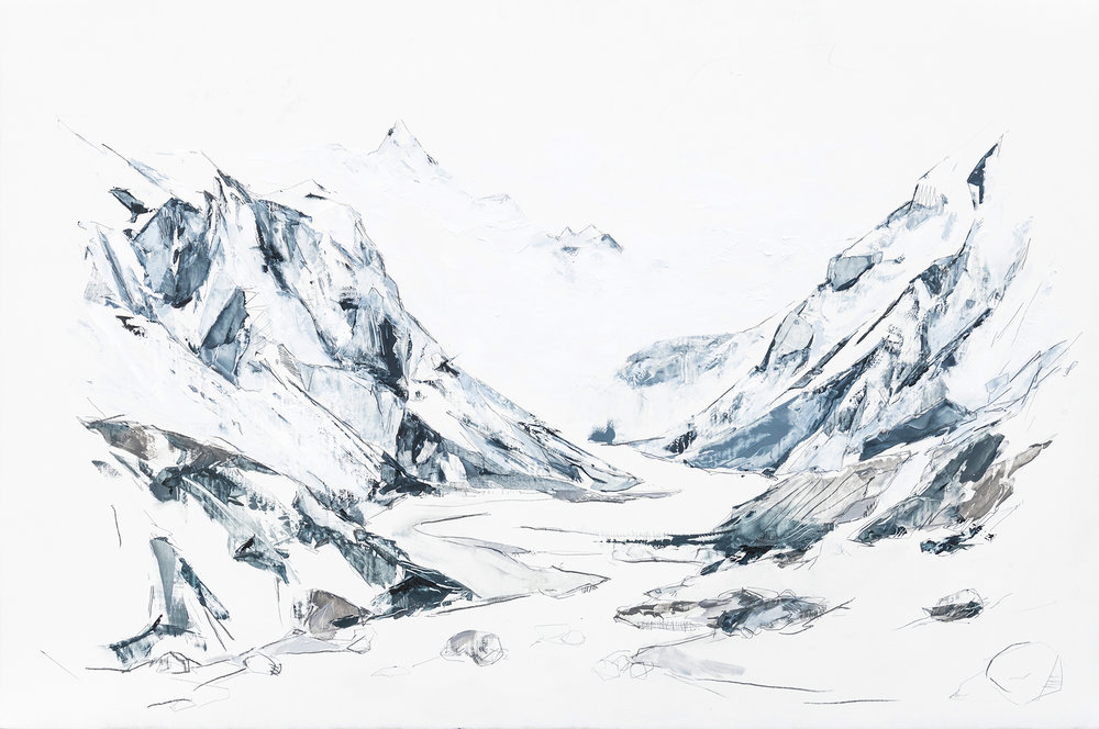 Lifecycle of Mountains  Mya Kerner, Oil and Graphite on Panel, 24 x 36 inches, 2017.