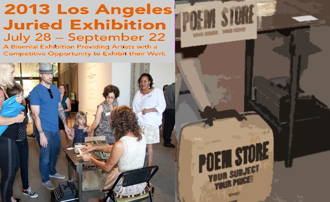 "Saturday, September 7, 2013, 12:00 p.m. – 3:00 p.m.  Drop in anytime; no reservations necessary.  Families of all ages are invited to an interactive free Art & Poetry Workshop, featuring ""Poem Store"" author/performer, Jacqueline Suskin, an Honorable Mention Award Winner in the 2013 LAMAG Juried Exhibition.  Using a manual typewriter, Ms. Suskin will write one-of-a kind poems especially for families.  She will discuss her unique style of creative writing and her experiences as a traveling poet and performer.  Participants will use a variety of writing tools and colorful art materials to create drawings inspired by Ms. Suskin's poetry, as well as their own imaginative poems and stories.  Please contact Education Coordinator/Art Instructor, Marta Feinstein, for more information via telephone at:  323.644.6269, or via email at: met_marta@sbcglobal.net."