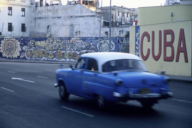 havana cuba blue vintage car