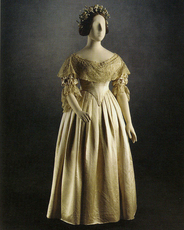 "Queen Victoria's Wedding Dress, 1840, England, silk, from The Royal Collection via ""Wedded Bliss: The Marriage of Art and Ceremony"""