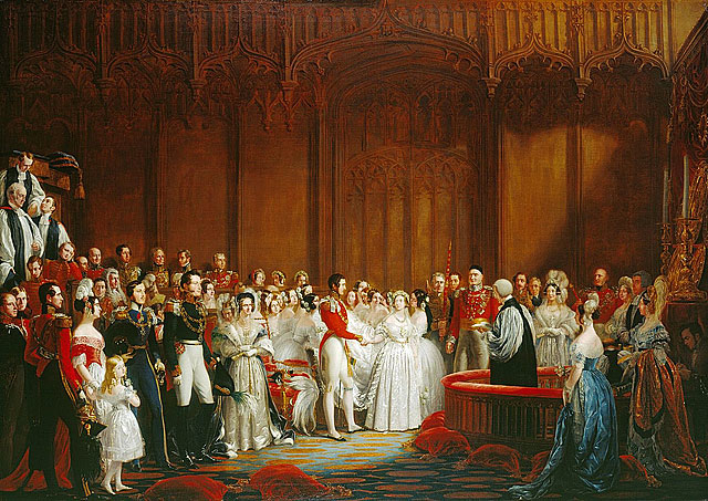 """The Marriage of Queen Victoria, 10 February 1840"" by Sir George Hayter, 1842, England, oil on canvas, from the Royal Collection Trust"