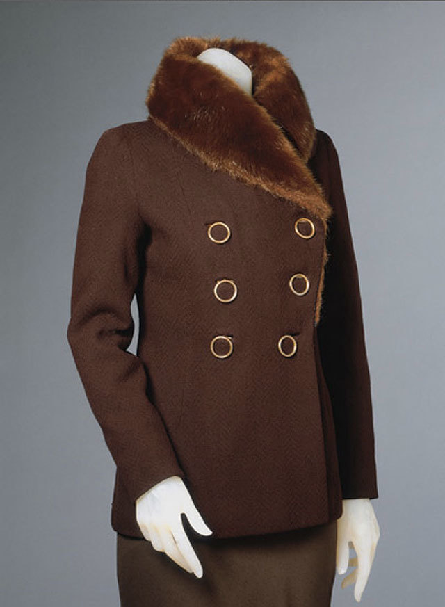 coat with seal fur collar by Elsa Schiaparelli, winter 1931-32. source Philadelphia Museum of Art