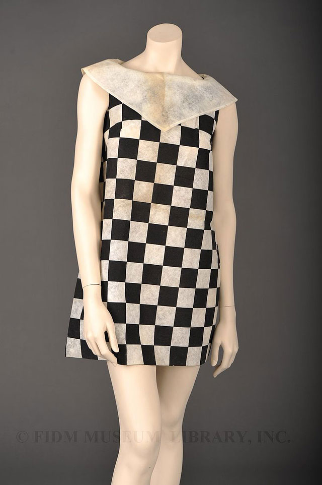checkerboard paper dress by Styled by Sue, c. 1967. source FIDM Museum & Galleries