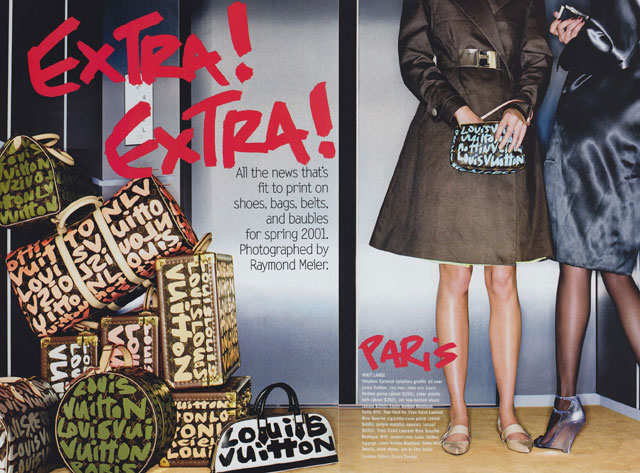 Louis Vuitton handbags and luggage featuring Stephen Sprouse graffiti print, photographed by Raymond Meier for Vogue, January 2001