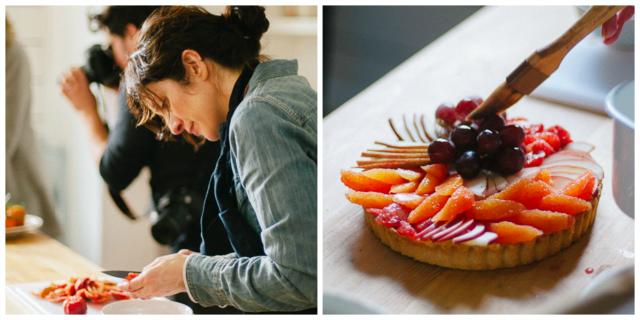 Aran Goyoaga preparing the winter fruit tart - Sandra Harris