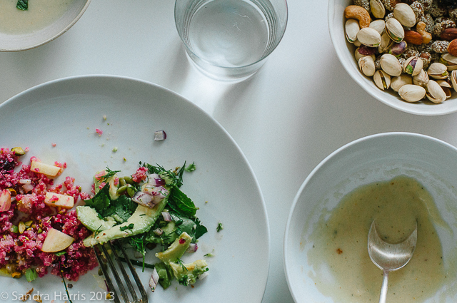 beet and quinoa salad; avocado salad - Sandra Harris