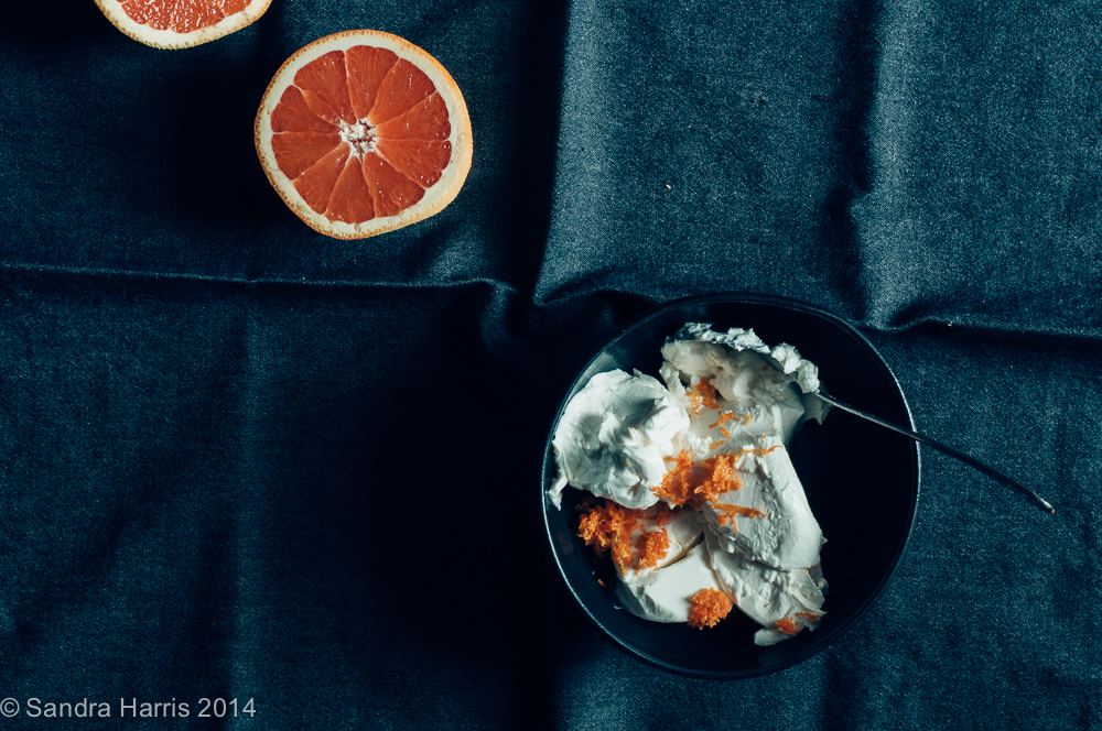 rhubarb marscapone cara cara oranges - Sandra Harris