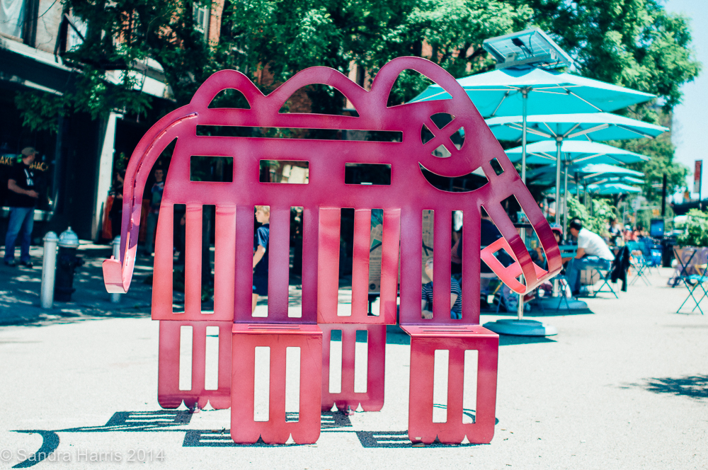 Dumbo pink elephant sculpture, NYC- Sandra Harris