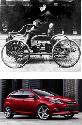 Henry Ford's first car, the Ford Quadricycle (top) and the 2013 Ford focus. The two cars share the same operating principle, but the modern car has many more supporting technologies. [images via Wikimedia commons (top) and Ford Motor Company (bottom)]