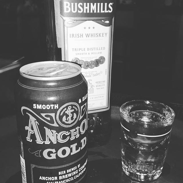 Our newest happy hour special: @anchorbrewing gold & a shot of @bushmillsusa for $10!! Only available until 8pm. xo