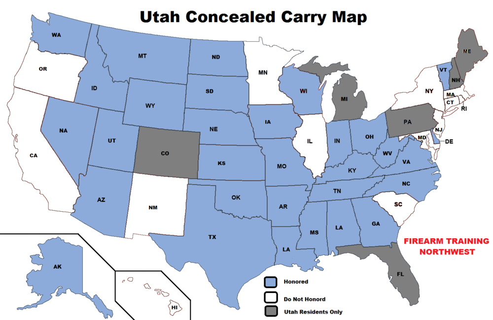 Utah Permit Map  Firearm Training Northwest - Us carry map