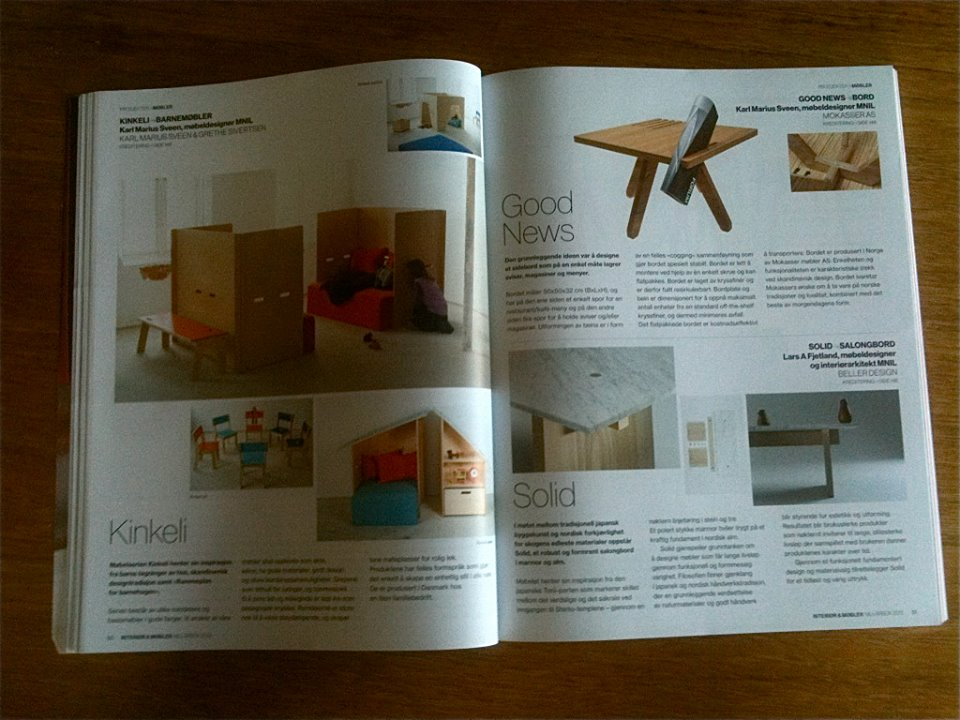 May 2013  The Good News coffee table featured in the Norwegian Organization of Interior Architects and Furniture Designers (NIL) Yearbook for 2013.