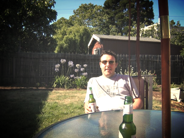 Drinking on the patio with Simon, Bertha be damned!