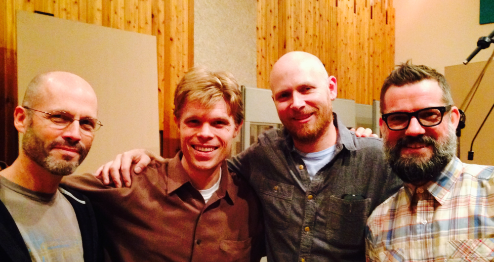 Left to right: Music Director Brad Wells, producer Jesse Lewis, drummer Jason Treuting, and composer Wally Gunn.