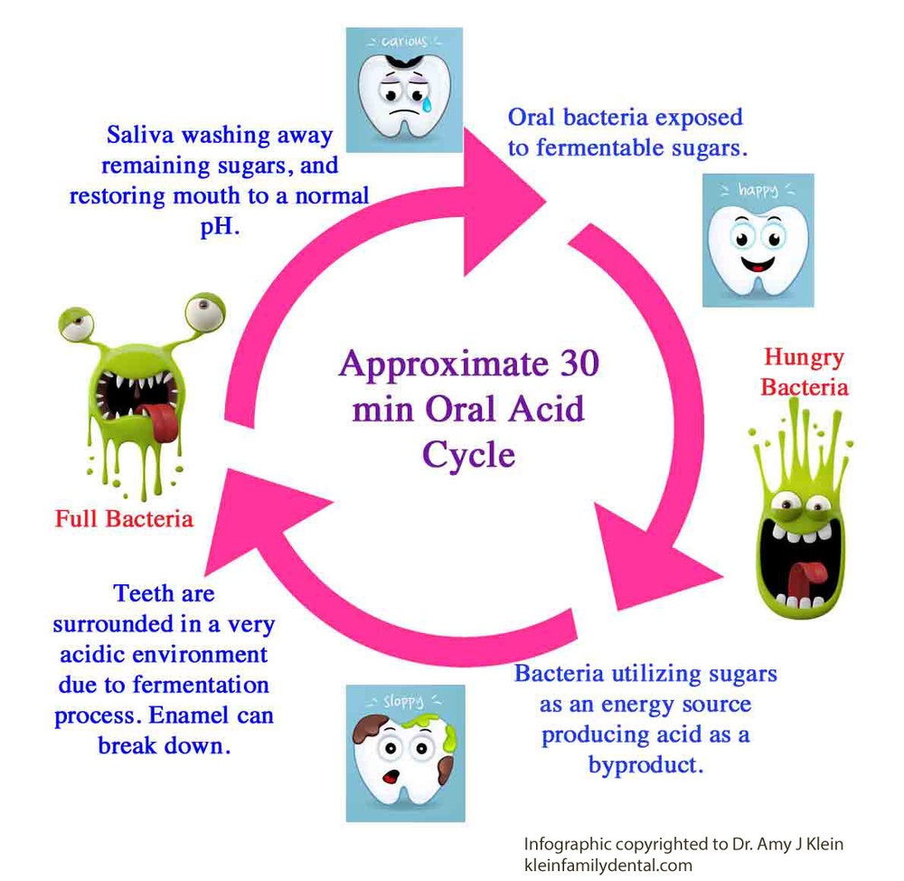 This is why snacking and sipping are so detrimental.  The acid cycle just keeps repeating itself over and over again.  The idea is to give the oral environment time to normalize its pH between meals.