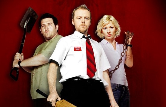Nick Frost, Simon Pegg, and Kate Ashfield from Shaun of the Dead.