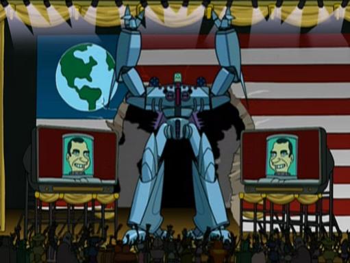 Robo-Nixon on Futurama.