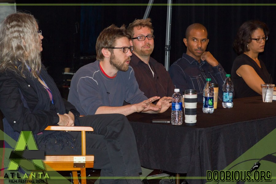 David Bruckner, Nicholas Tecosky, Kevin Collins, and Tonya Holloway discuss story structure at the 2013 Atlanta Film Festival (Moderator: Linda Burns)