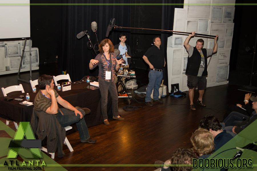 Jeremiah Kulani Prescott, Linda Spears, Scott Beatty, Aron Siegel, and Allen Lee Williams III demonstrate proper sound recording technique at the 2013 Atlanta Film Festival.