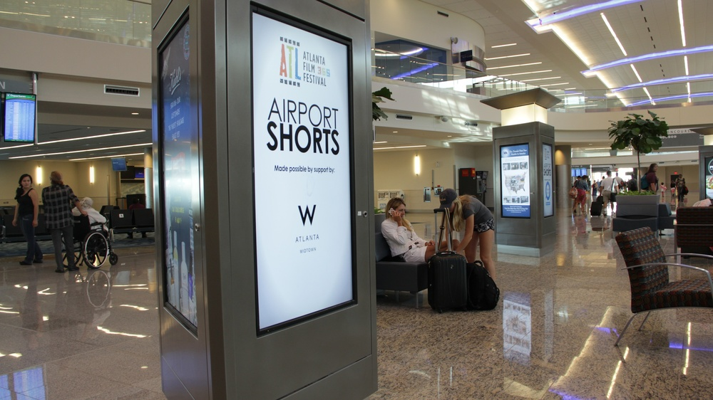 Airport Shorts play on these kiosks in the International Terminal.