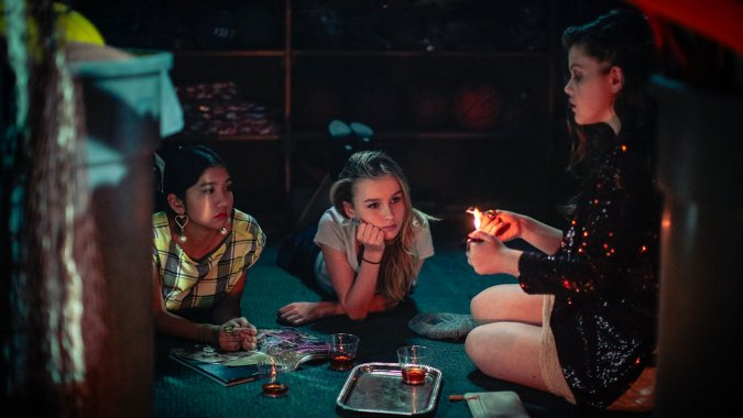"Willa Cuthrell, Olivia DeJonge, AND Georgie Henley in ""The Sisterhood of Night"""