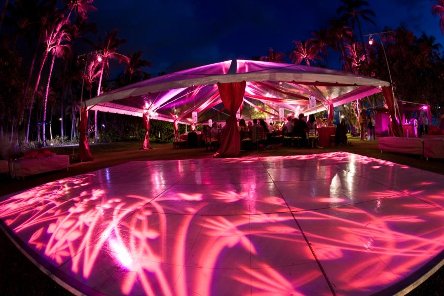 pink tent lighting custom pink dance floor gobo pink landscape uplighting photo Visionari & Lighting u2014 MOOD EVENT
