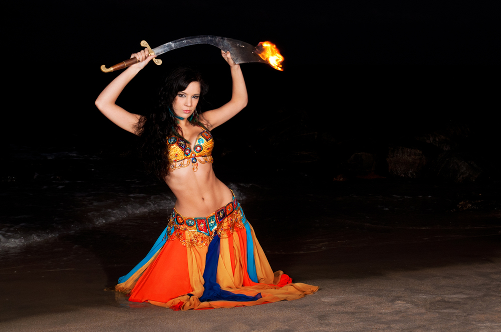 fire dancer belly dancer sword