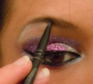 As you can see in the pictures I did two different looks. A pink, white,  purple look, my personal favorite, and a white and blue look, with me  darkening under the blue to make it look like different shades. You can  also do all sorts of crazy patterns and extend beyond your eyelid if the  mood fits.