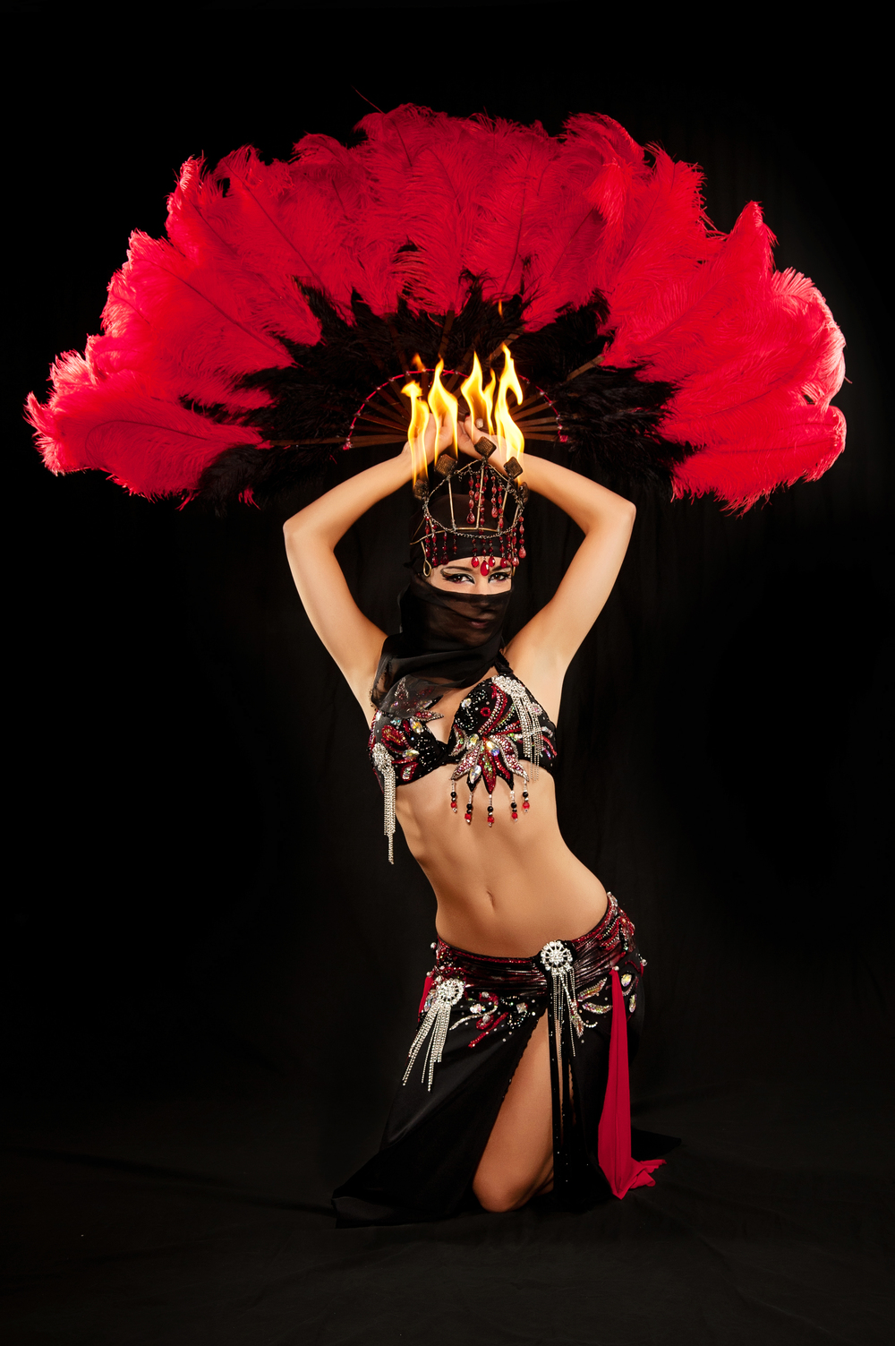Red and Black Gomaa south florida fire belly dancer