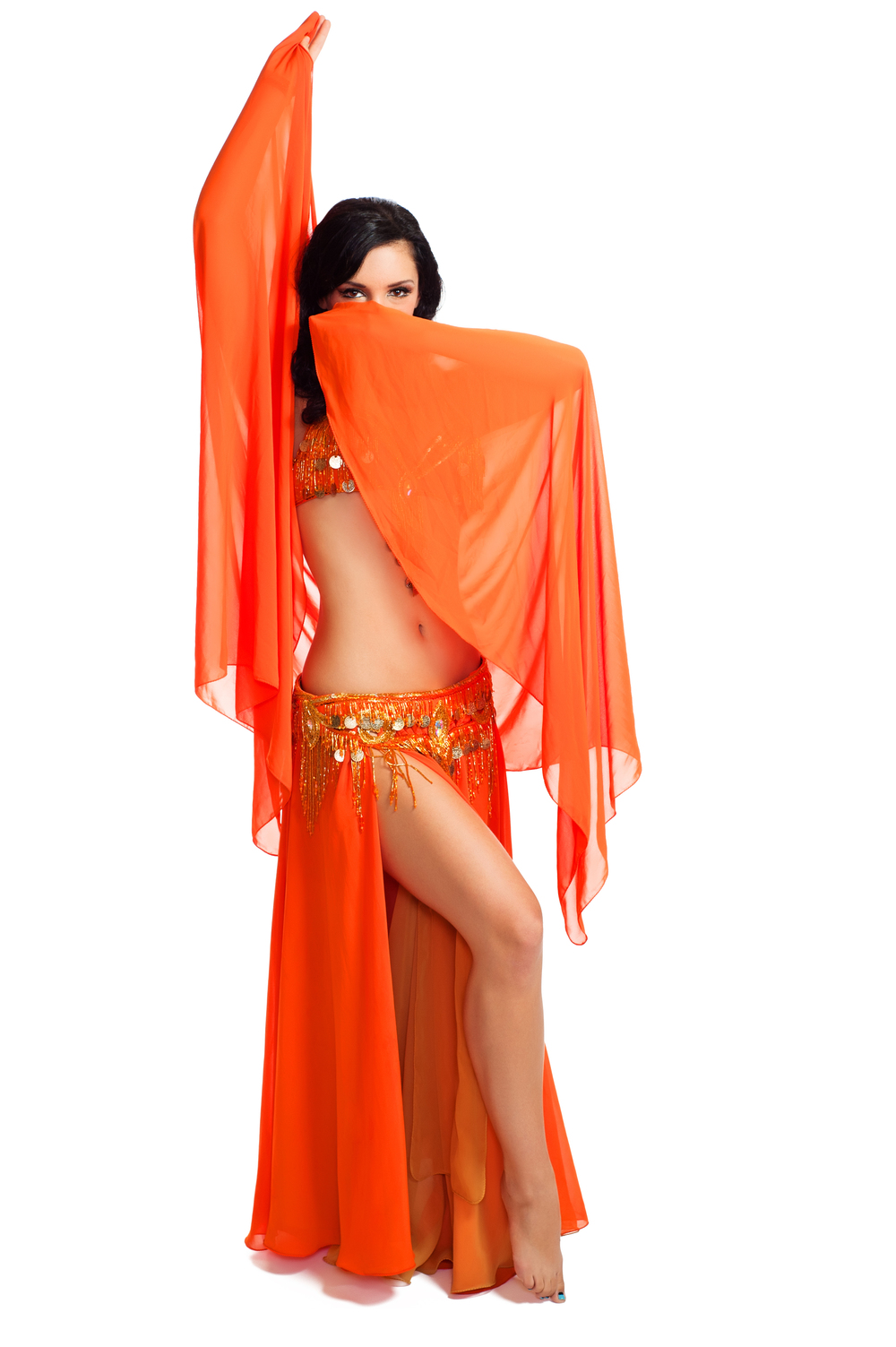 Orange Coin Bella Veil South Florida Belly dancer