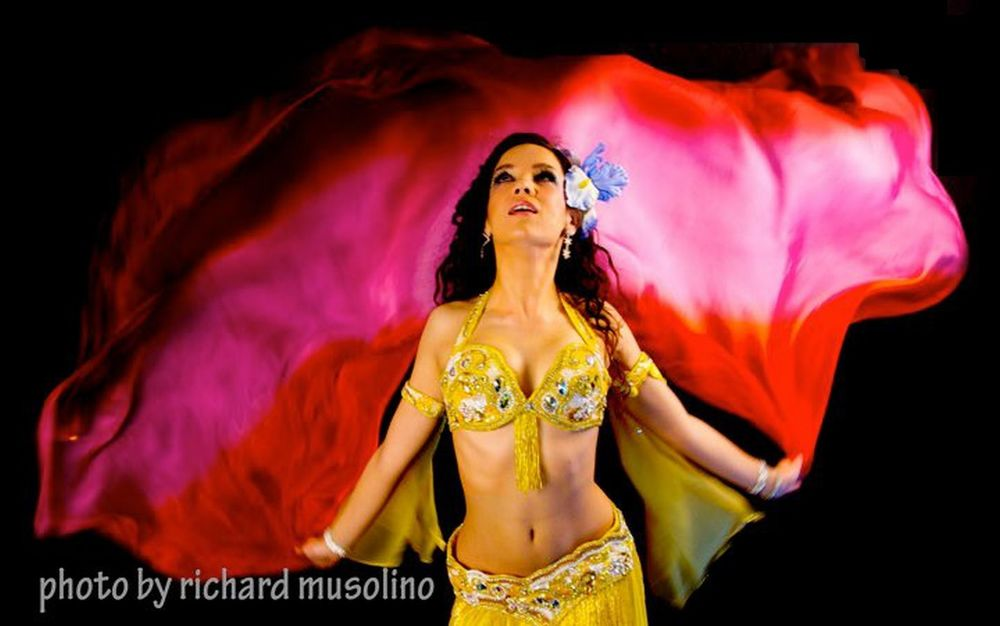 Yellow and White Romantic Interlude West Palm Beach Florida Belly dancer