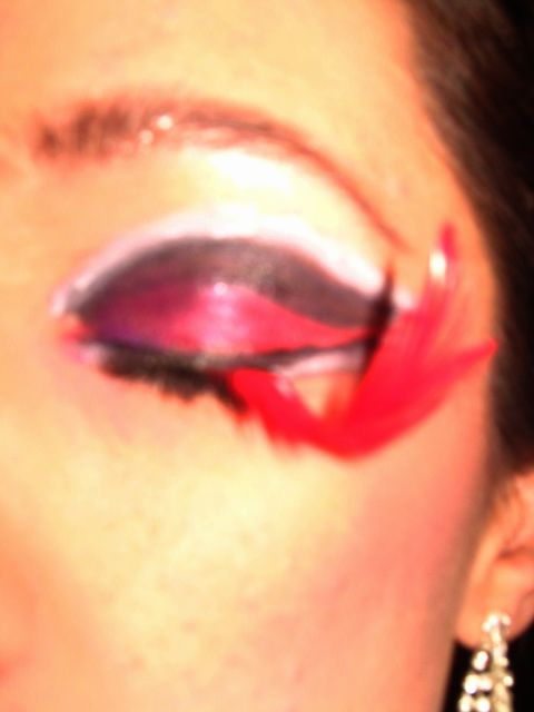 Pair of red feather lashes I made for Halloween a few years ago