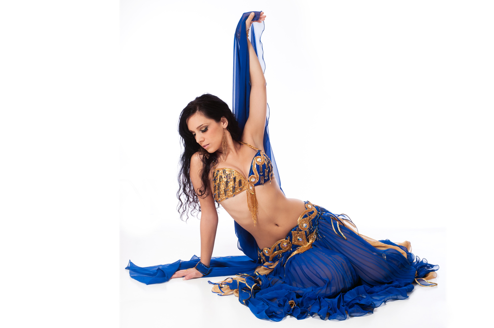 Blue and Gold Bella Costume boca raton florida belly dancer
