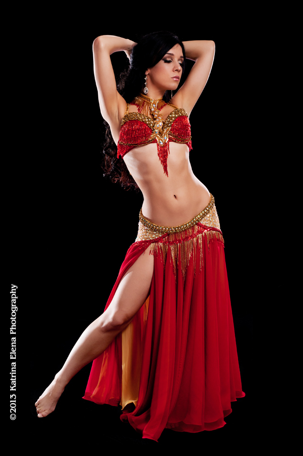 Red and Gold Bella Belly Dance Costume