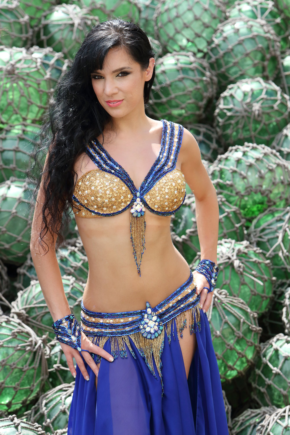 Sapphire Blue Gold Bella Belly Dance Costume