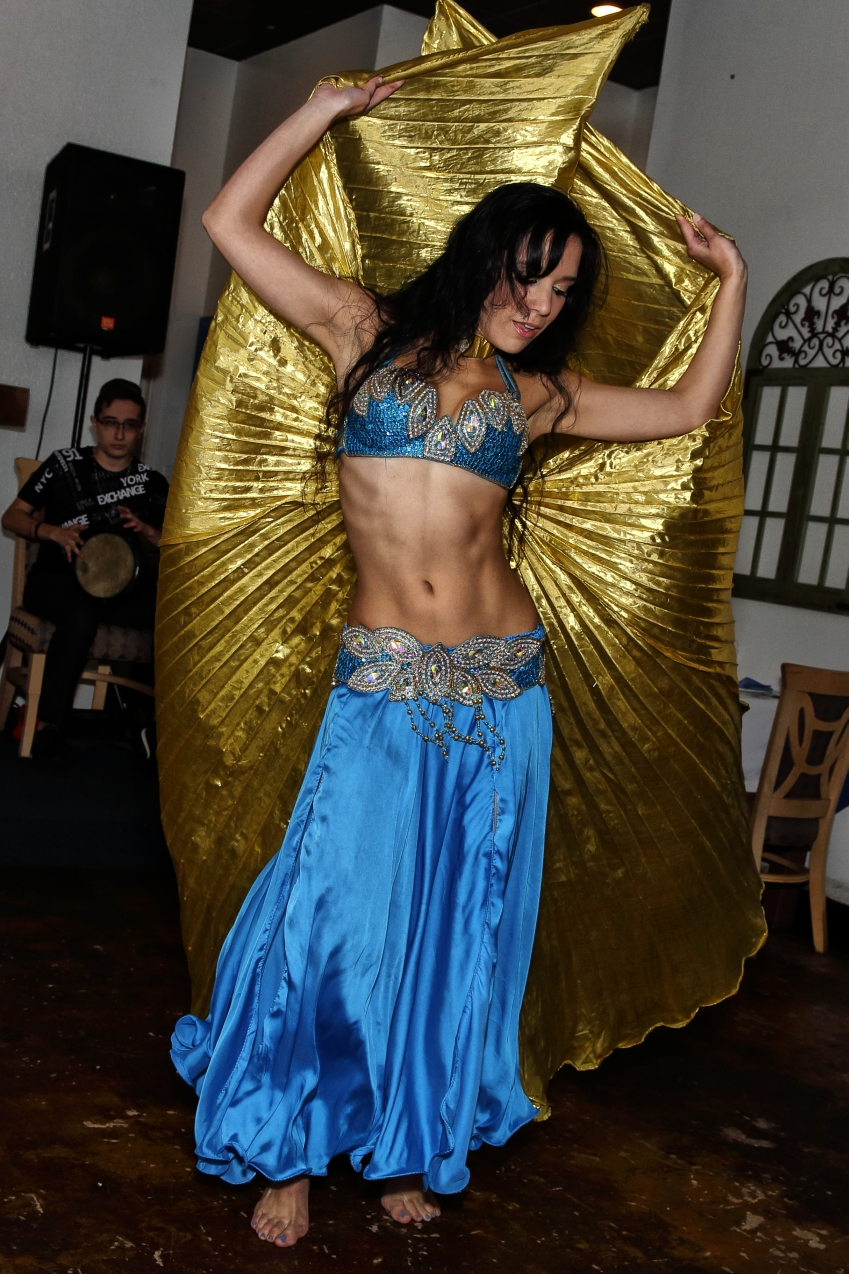 Turquoise and Gold Egyptian Belly Dance Costume