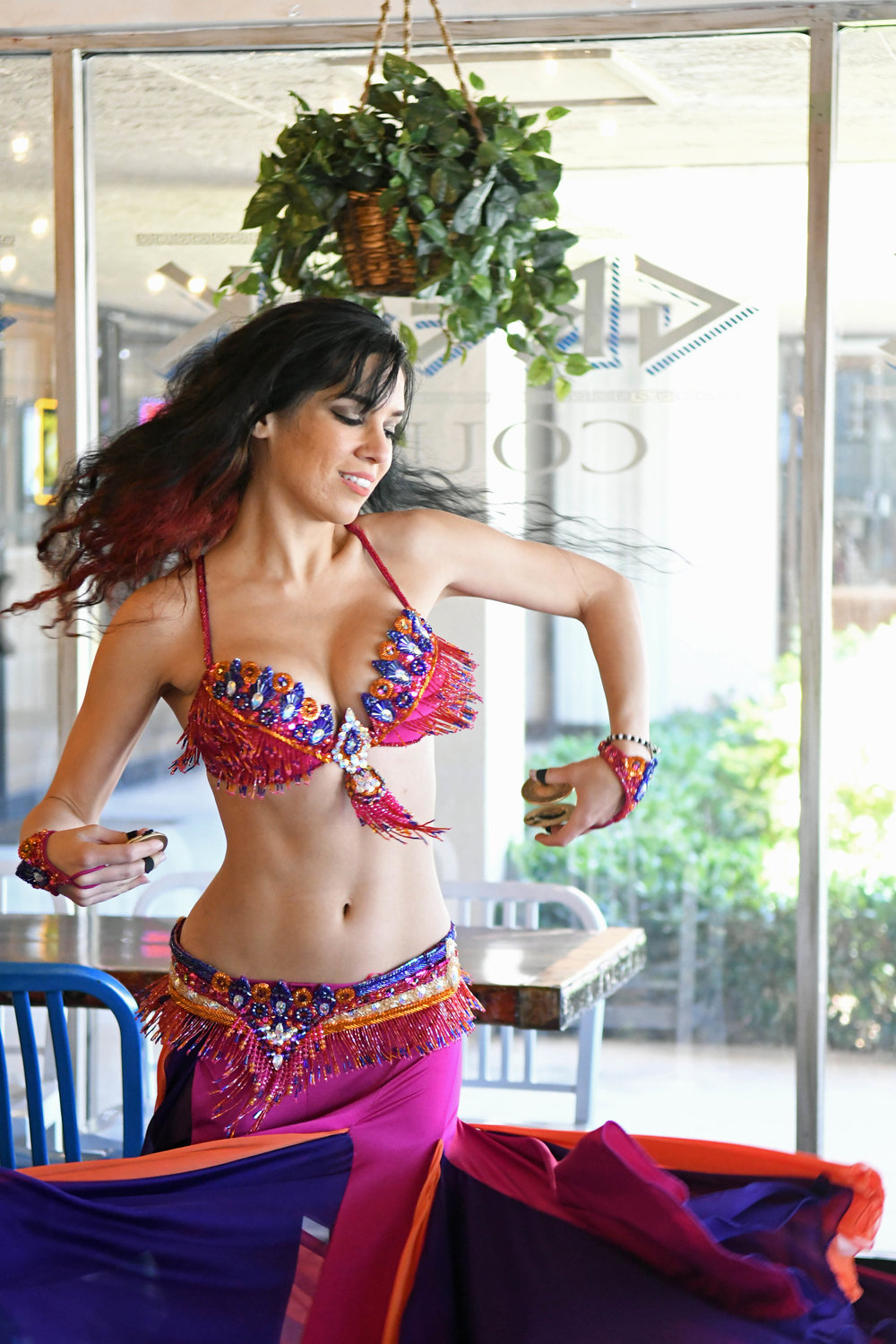 Fuschia Purple Orange Bella Belly Dance Costume Palm Beach Belly Dancer
