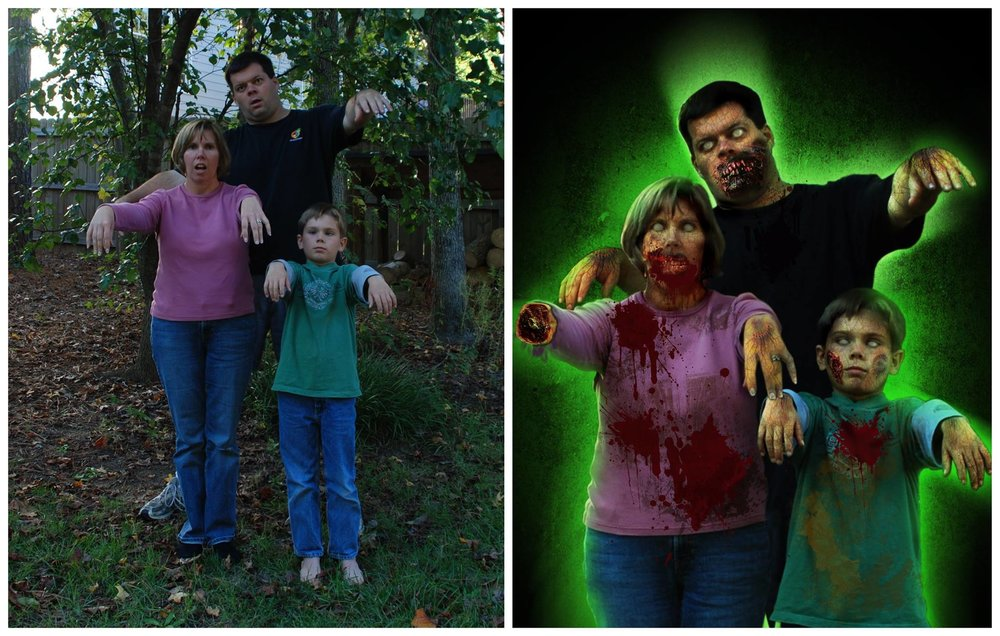 Our first Halloween portrait from 2008. One quick photo manipulated in Photoshop.