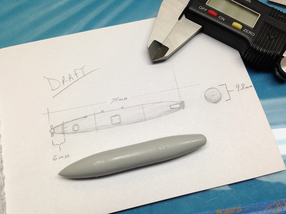 A draft drawing of the pod serves as an excellent quick reference resource for re-checking as I work.  Drafted in 1/72nd scale with a calliper tool.