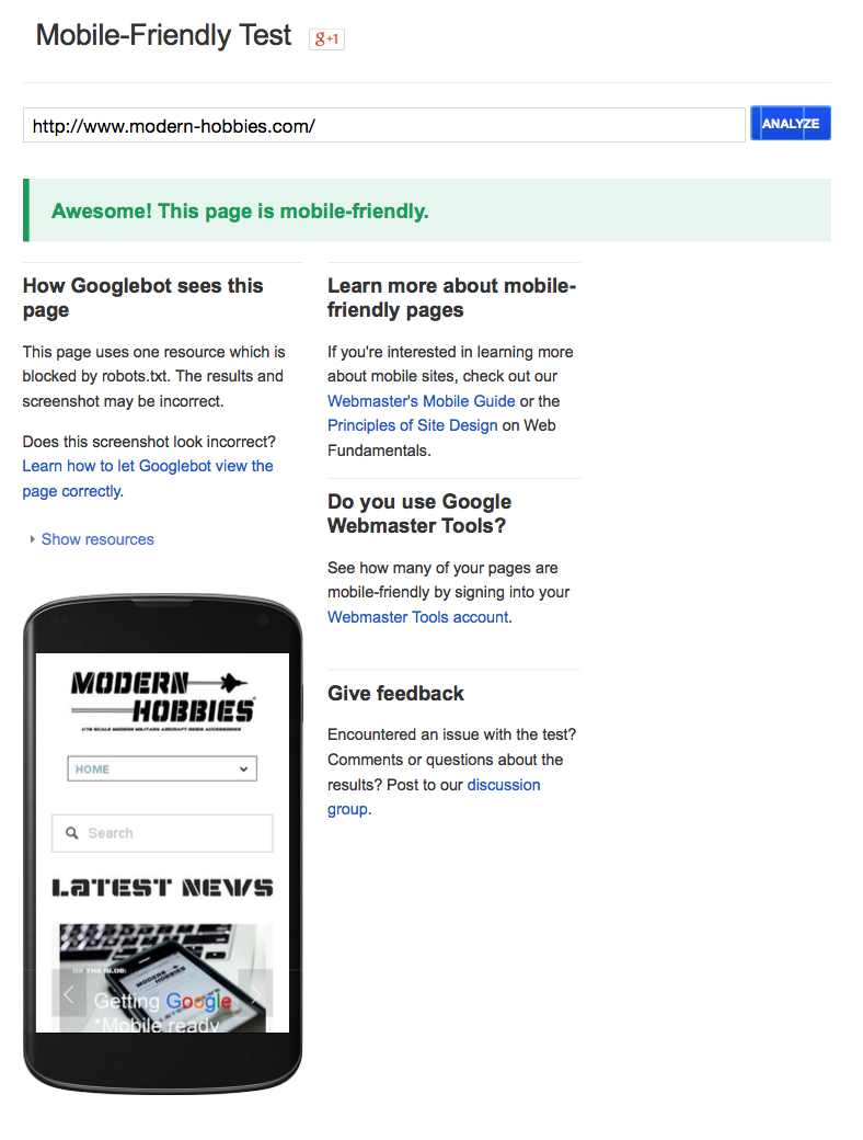 Google mobile-friendly test-www.modern-hobbies.com