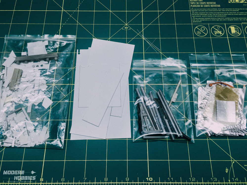 My supply of bits and pieces for scratch-building, organized in their own plastic baggies for detailing model kits and creating our resin accessories.