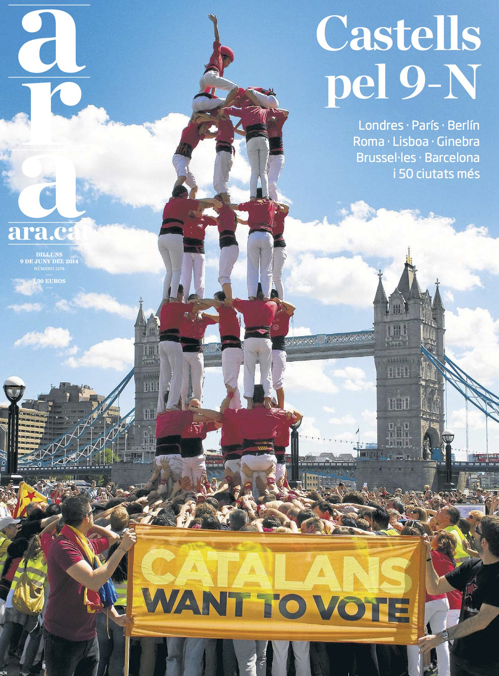 """Catalans want to vote"" (8 de juny del 2014)  Portada del diari Ara del 9 de juny"