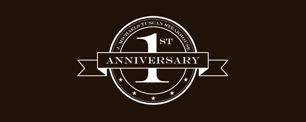 "J. Michaels ""1st Anniversary"" logo"