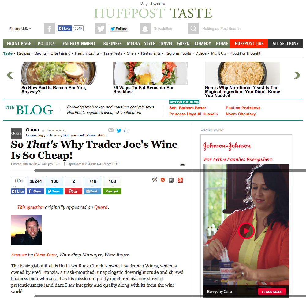 A screen grab of the HuffPo article before it was taken down.