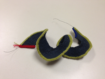 A knitbot constructed from wool and nitinol