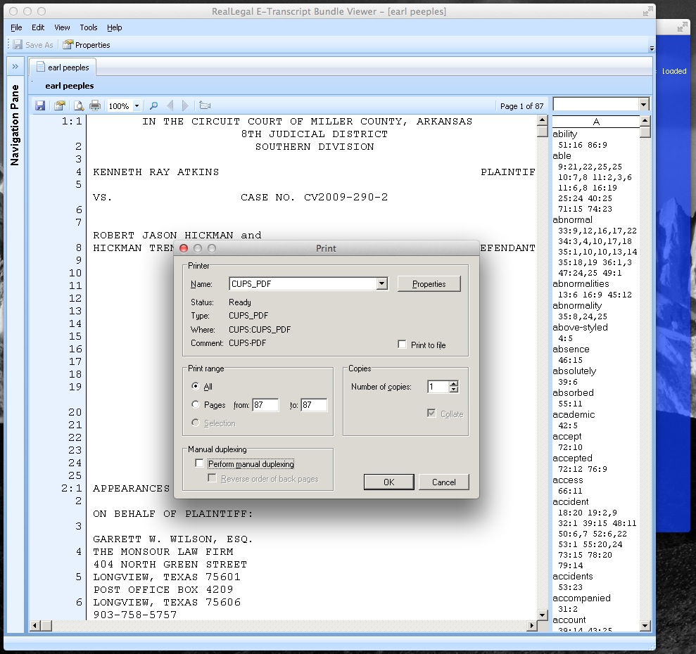 Installing and using a virtual PDF printer 97